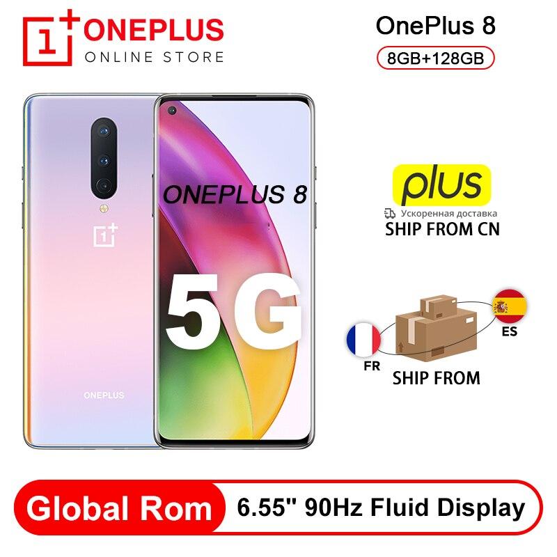 "Rom Global OnePlus 8 5G teléfono inteligente 8GB 128GB Snapdragon 865 Octa Core 6,55 ""90Hz líquido pantalla UFS 3,0 48MP Triple cámaras WiFi 6|Teléfonos móviles|   - AliExpress"