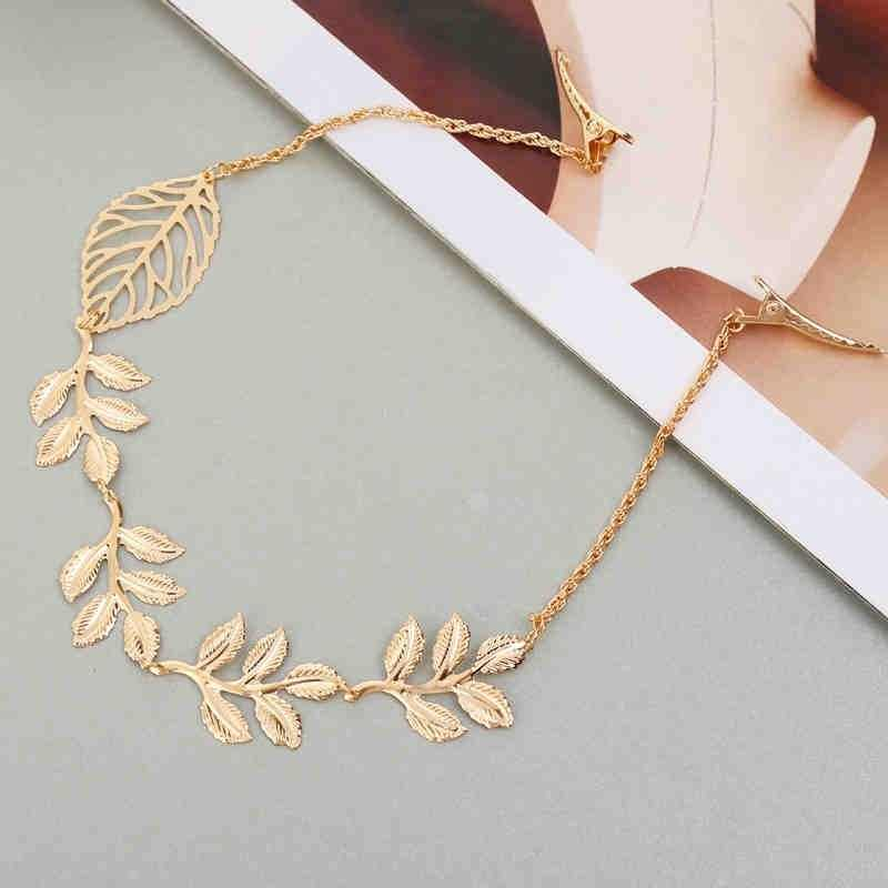 Fashion Simple Tree Leaf Hairpin Gold Hair Chain Sweet Hair Accessories for Women (Size: 40.5 cm, Color: Gold)