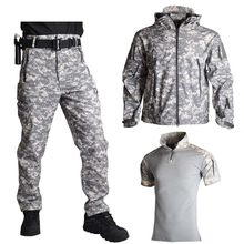 Pele de tubarão jaqueta de casca macia calças camisas uniforme militar camuflagem tático terno do exército roupas caminhadas jaquetas à prova dwaterproof água