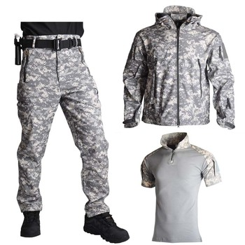 Shark Skin Soft Shell Jacket Pants Shirts Military Uniform Camouflage Tactical Suit Army Clothes Hiking Jackets Waterproof 3pcs set tad shark softshell jacket outdoor clothes hunting jacket pants with shirts camouflage military army suits for hiking