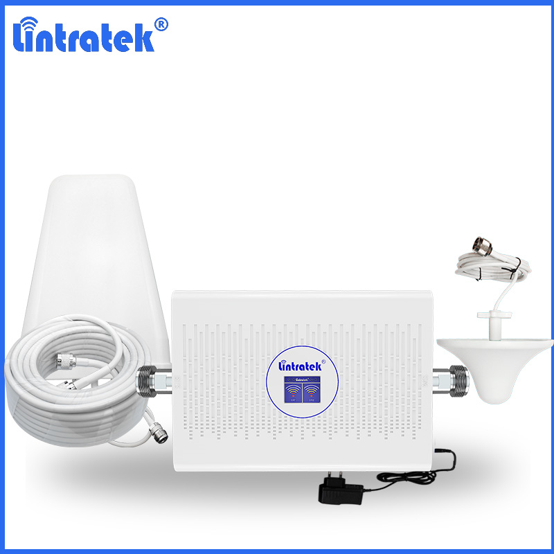 Lintratek High Gain Signal Booster GSM 900 UMTS 2100 3G Amplifier B1 Voice Mobile Phone 2G 70dB WCDMA Repetidor Kit + AGC S30