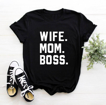 Wife Mom Boss Women's letter print cotton T-shirt women's funny and casual T-shirt girl's T-shirt Hipster T-shirt with direct letter print drop shoulder t shirt