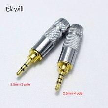 2.5mm jack 3 pólo 4 adaptador conector macho para diy fone de ouvido estéreo fone de ouvido/reparação fone de ouvido alto-falante com metal escudo