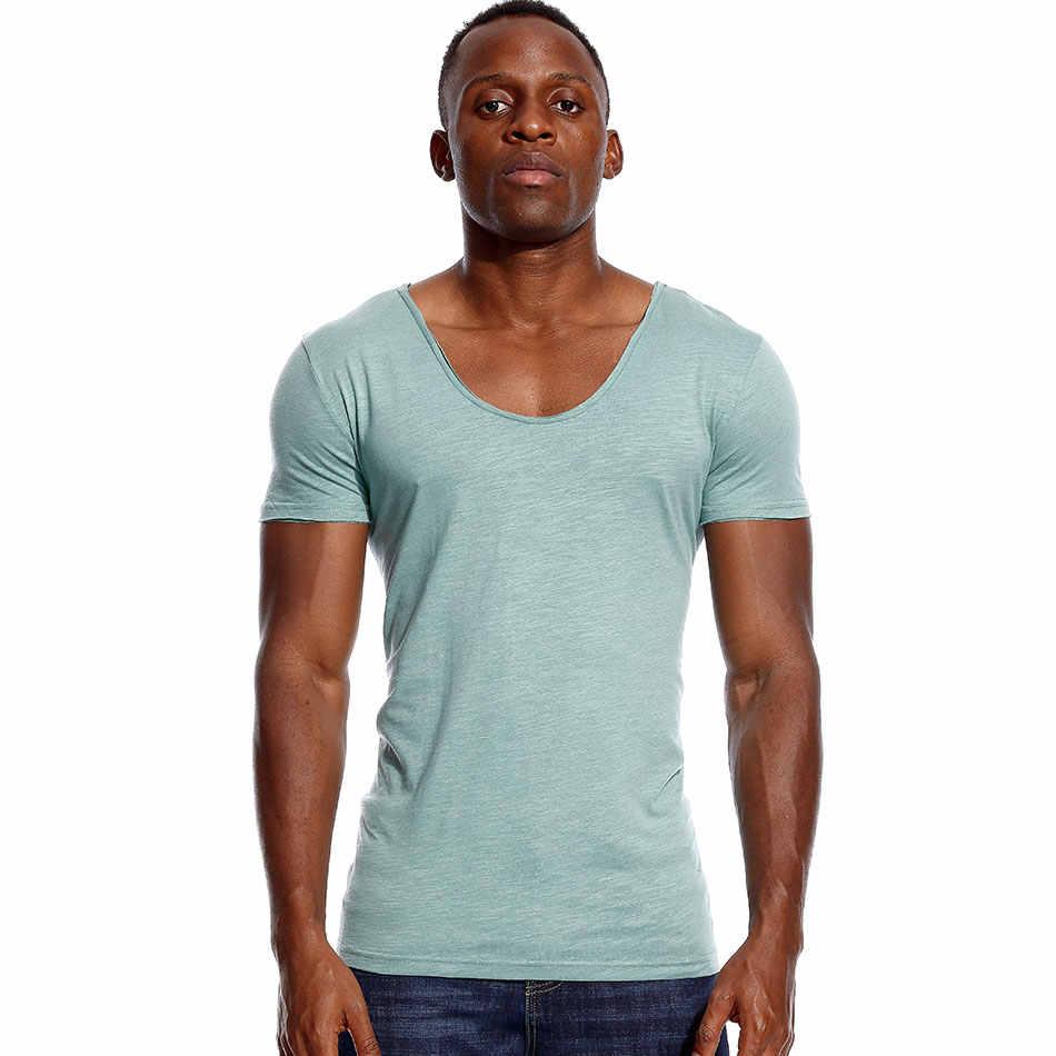 Deep V Neck T Shirt untuk Pria Rendah Memotong Peregangan Vee Top Tee Slim Fit Lengan Pendek Fashion T kemeja Tak Terlihat Kasual Musim Panas