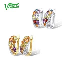 VISTOSO Echtem 14K 585 Gelb Gold Funkelnden Diamant Phantasie Citrin Amethyst Peridot Blau Topas Granat Jahrestag Edlen Schmuck