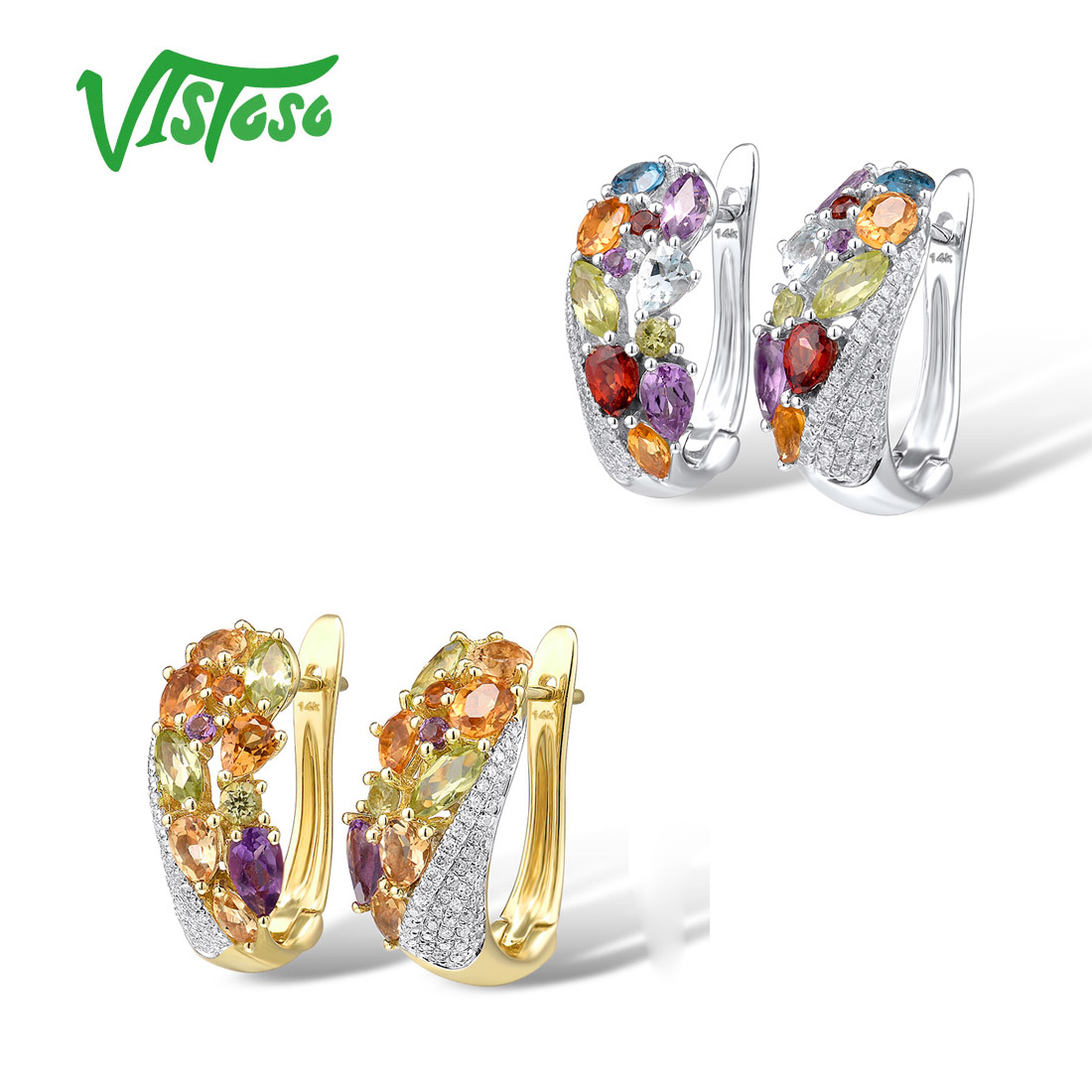 VISTOSO Genuine 14K 585 Yellow Gold Sparkling Diamond Fancy Citrine Amethyst Peridot Blue Topaz  Garnet Anniversary Fine Jewelry