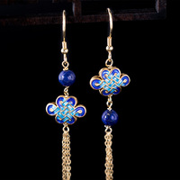 925 Sterling Silver Enameling Earrings Chinese Traditional Ethnic Style Tassel Earrings With Natural Lapis Gold Plated