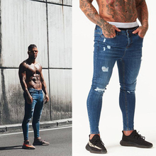 Ripped Jeans Spray Slim-Fit Melody Skinny-Tight Hip-Hop Mens Denim Super on Mid Mid-Rise