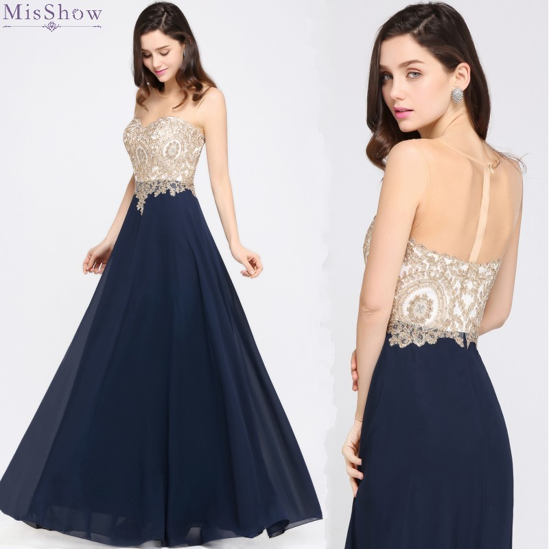 Navy Chiffon Long Evening Dress 2019 Scoop Neck Sleeveless Formal Party Dress Evening Gown Elegant Applique Robe De Soiree