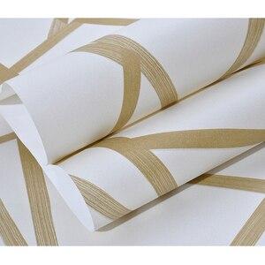 Image 3 - Papel tapiz geométrico 3D para decoración del hogar papel tapiz con diseño moderno de rayas y triángulos, para dormitorio y sala de estar, color azul y Beige