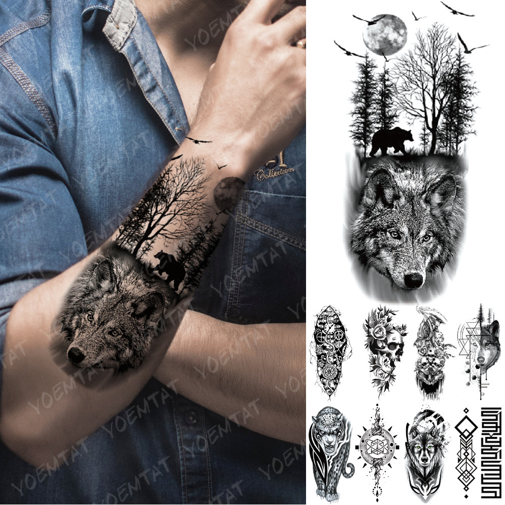 Waterproof Temporary Tattoo Sticker Forest Moon Flying Bird Bear Flash Tattoos Leopard Wolf Tiger Body Art Arm Fake Tatoo Men