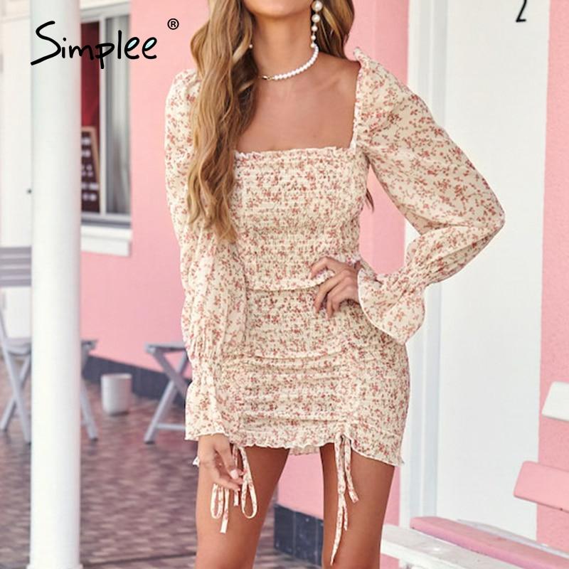 Simplee сексуальное весеннее платье с квадратным вырезом, женское эластичное короткое платье на шнуровке с пышными рукавами, одежда Вечерние в...