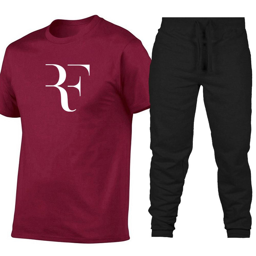Summer Men And Women Printed Full Cotton Ouma Loose Short Sleeve + Trousers Leisure Suit Short Sleeve T-shirt Sports Set