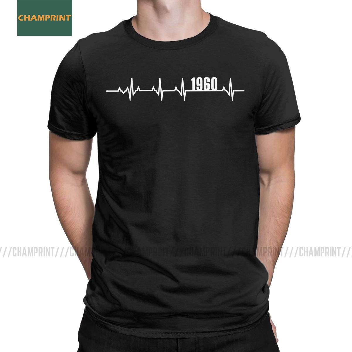 Men T-Shirts 1960 Heartbeat Birthday Gifts Funny Pure Cotton Tee Shirt Short Sleeve 60 Years Old 60th Birthday Gift T Shirt