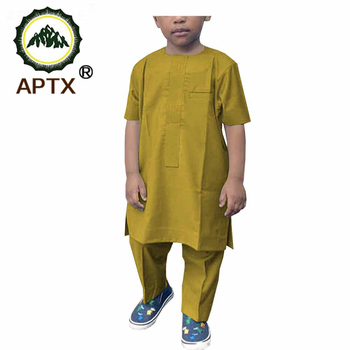 African Suit for Boy's Church Style Short Sleeves Shirt+Full Length Pants 100% Cotton Material  Casual  A194007