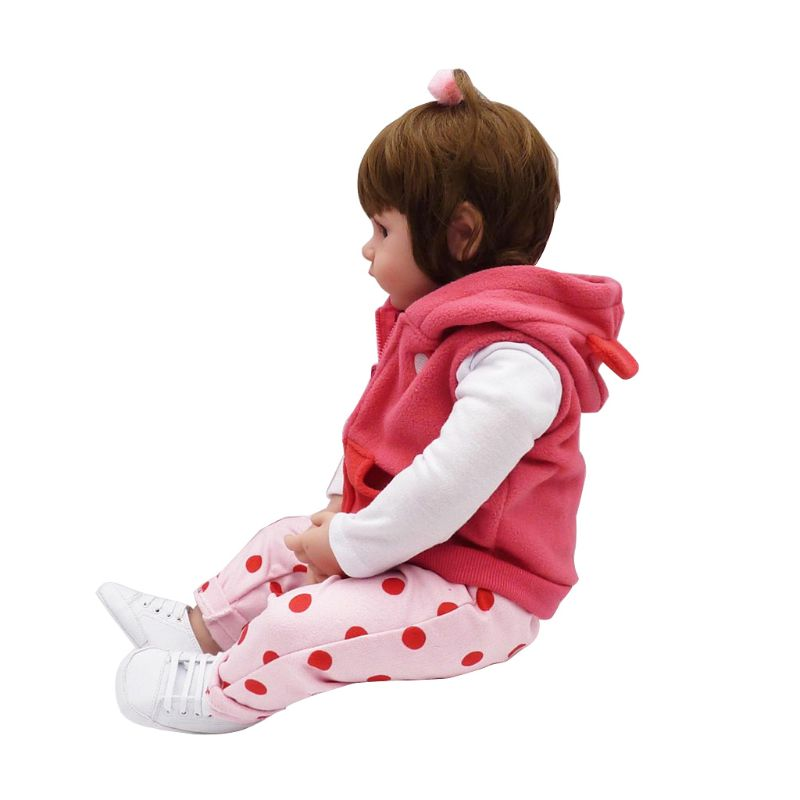 <font><b>24inch</b></font> Silicon Lifelike Doll White Cartoon Clothes Pink Pants Coat Hat Shoes Deer Early Childhood Kids Baby Toys 72XC image