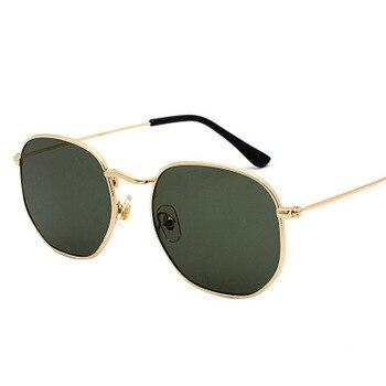 2020 Men Hexagon Sunglases Women Brand  Driving Shades Male Sunglasses For Men's Glasses Gafas De sol UV400 - Gold Dark Green