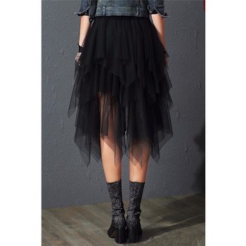 2019 Fashion Elastic High Waist Mesh Tutu Maxi Pleated Long Midi Saias Jupe Women's Skirt Tulle Skirts Womens Faldas Mujer Moda 2