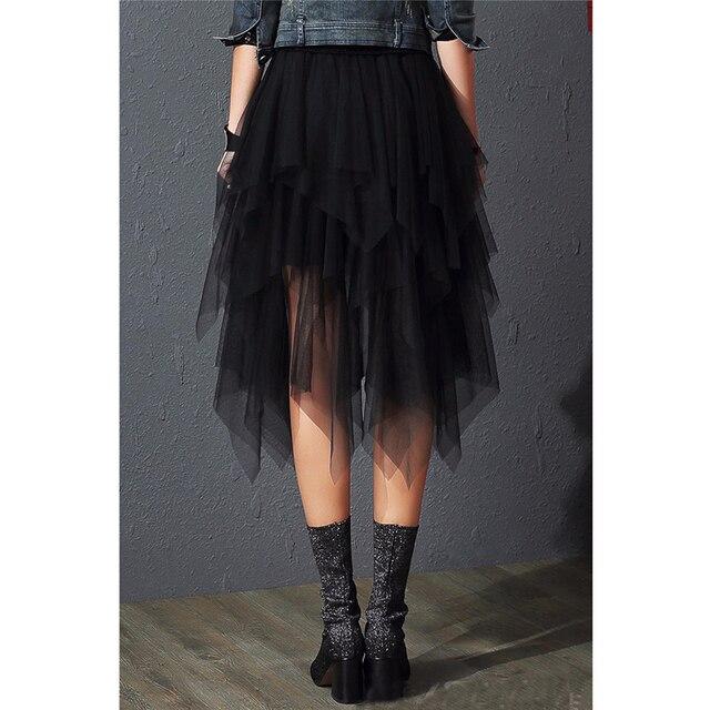 2019 Fashion Elastic High Waist Mesh Tutu Maxi Pleated Long Midi Saias Jupe Women's Skirt Tulle Skirts Womens Faldas Mujer Moda 2