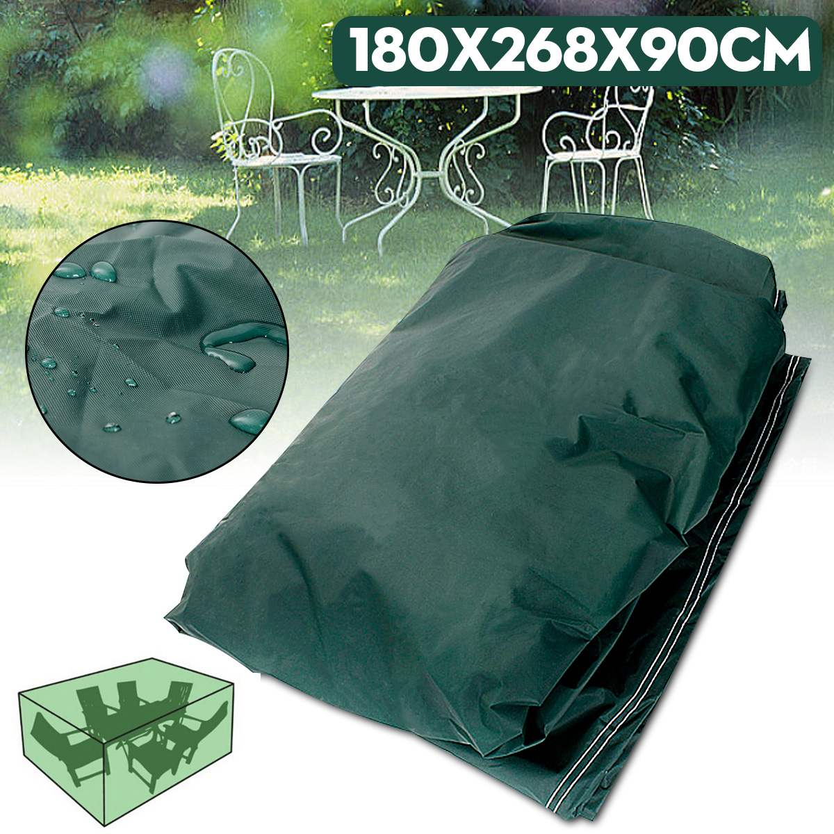 180x268x90cm Garden Outdoor Furniture Waterproof Breathable Dust Cover Table Shelter Woven Polyethylene