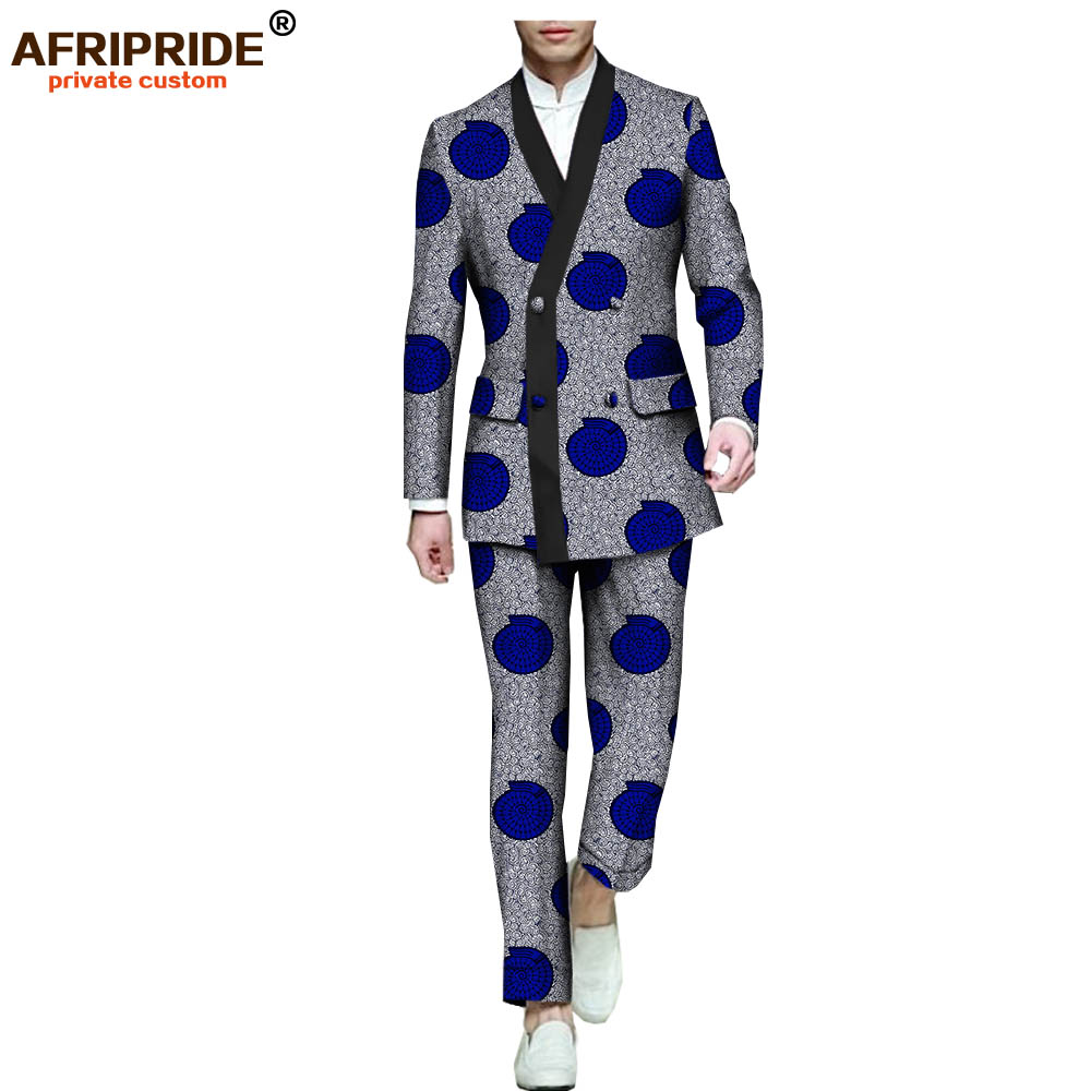 2018 African Print Formal Suit For Men AFRIPRIDE Full Sleeve Single Breasted Jacket+ankle-length Pant Suit Slim Style A731607
