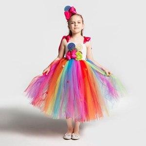Image 2 - Dziewczyny szkolne kostiumy sceniczne dzieci tęczowe cukierki sukienka z dzianiny dzieci Lollipop modelowanie tiulowa sukienka balowa z pałąkiem na głowę