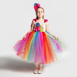 Image 2 - Girls School Performance Costumes Kids Rainbow Candy Knitting Dress Children Lollipop Modeling Tulle Ball Gown With Headband