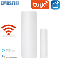 Sensor de porta inteligente tuya com wi-fi, detector de porta aberta/fechada wi-fi com notificação de alerta de segurança no aplicativo, suporte de sensor alexa google home