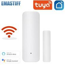 Sensor de puerta inteligente con WiFi para el hogar Detector de puerta con sistema de apertura y cierre, Notificación por aplicación WiFi, alarma de seguridad compatible con Alexa y Google Home