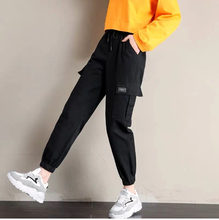 Pure cotton spring and summer new style overalls female Korean students casual loose high waist was thin wild nine-point beamed