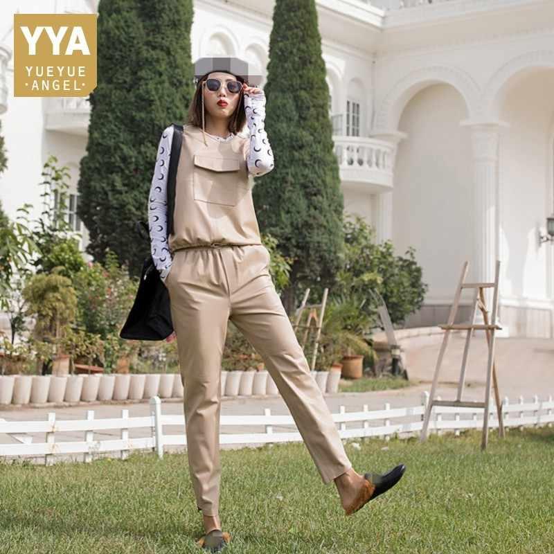 แบรนด์กางเกงหนังผู้หญิง Streetwear Slim Elastic เอว Harem กางเกง Luxury Office Lady Sheepskin Casual กางเกง M-2XL