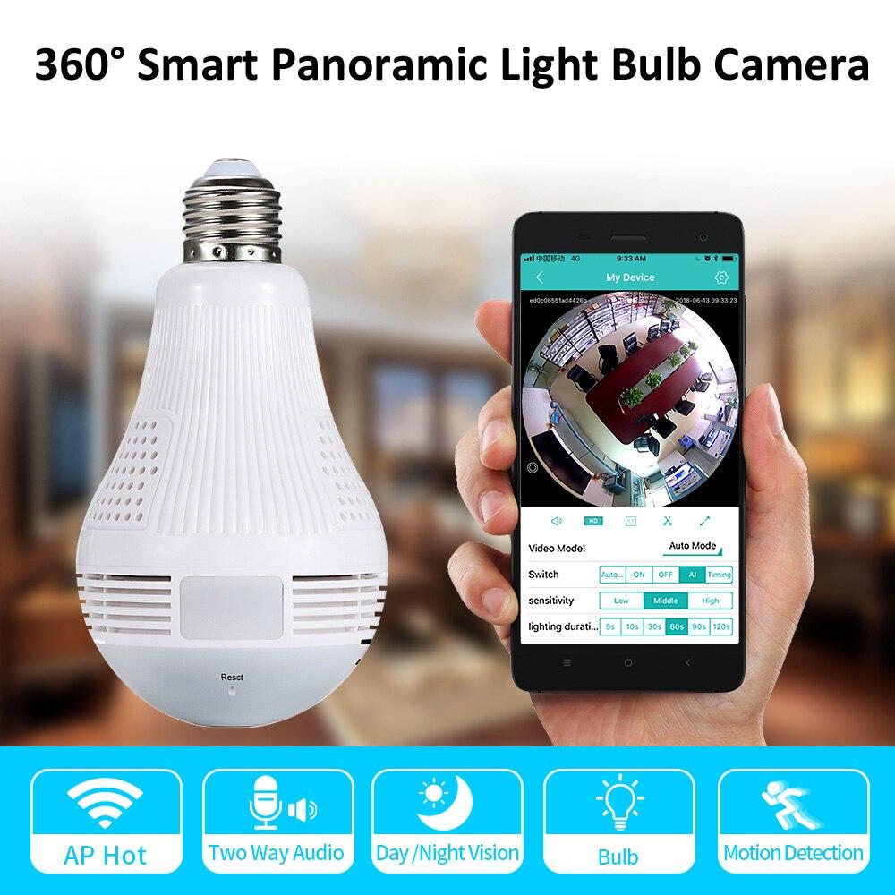 360 ° панорамная WiFi камера светодиодный светильник лампа беспроводная домашняя безопасность CCTV рыбий глаз двухсторонняя аудио ip-камера