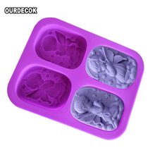 4 Hole Angels Die Food-grade Silicone Angel Couple Handmade Soap Mold Cake 3D Molds DIY Crafts