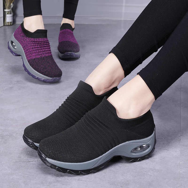 2019 Women's Breathable สบายกีฬารองเท้ารองเท้าผ้าใบผู้หญิงรองเท้าสตรีถุงเท้ารองเท้าผ้าใบขนาด 35-42