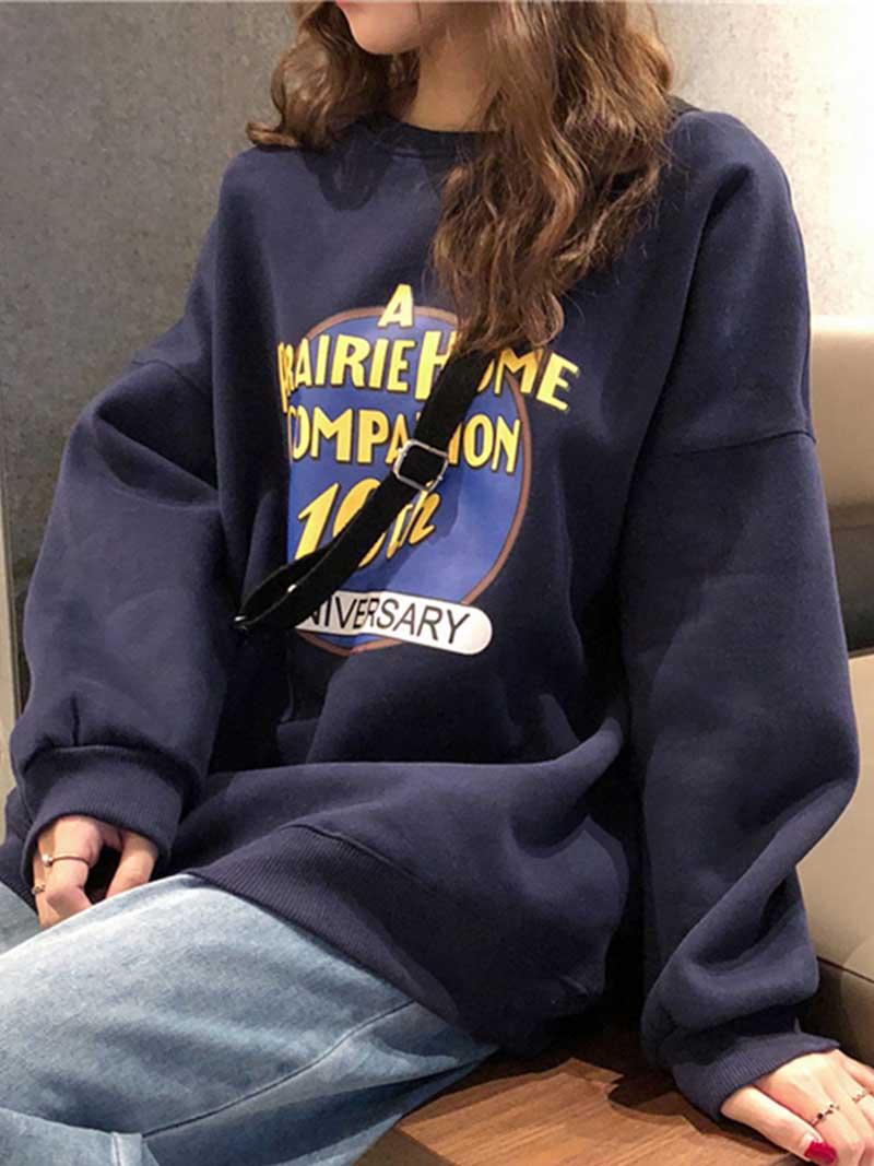 SportsX Womens Velvet Pockets Baggy Mid-Long Hood Weekend Zip Sweatshirts Top