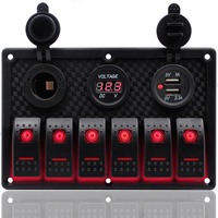 6 Gang Red LED Car Switch Panel 12V 24V Circuit Breakers Overload Protect Boat Rocker Switch Control Panel Set