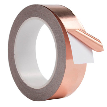 30mm*4m Conductive Slug Tapes With Single Adhesive Copper Foil Tape EMI Repellent Shield Strip For Guitar 25mm 20m single side adhesive silver conductive fabric cloth tape for pc phone lcd cable emi shielding keyboard repair