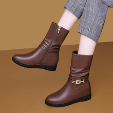 Модные женские сапоги до середины икры женская обувь из искусственной
