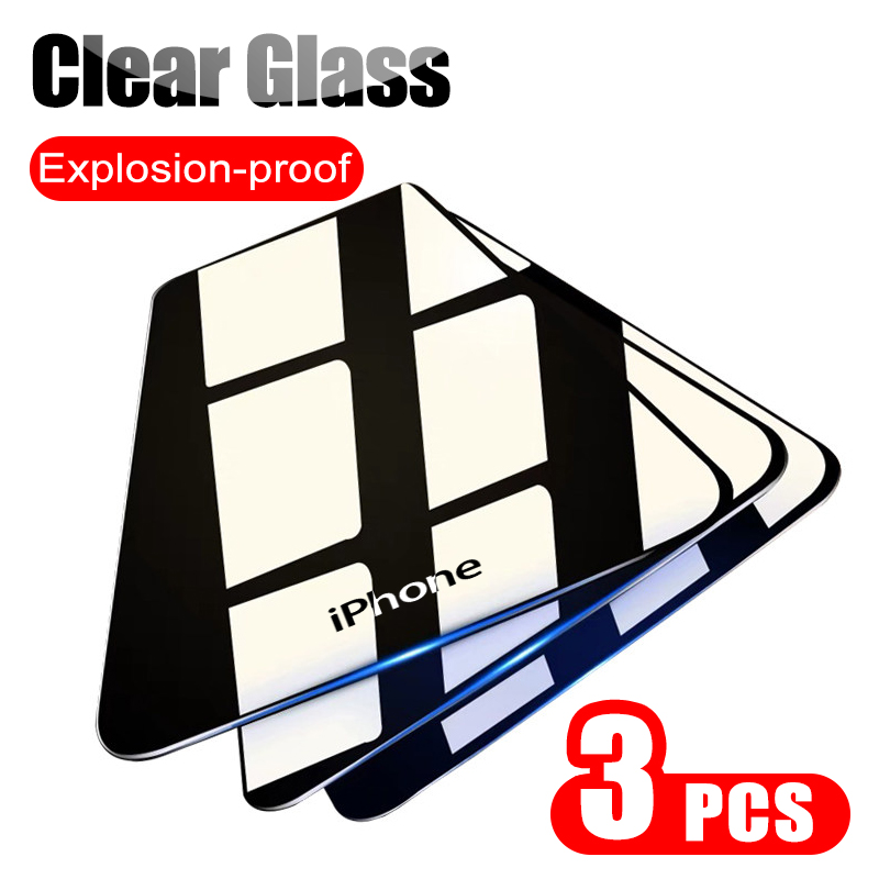 3Pcs Full Clear Protective Glass On For Iphone 7 6 6s 8 Plus 11 Pro X XS Max Screen Protector For Iphone 11 XR Tempered Glass