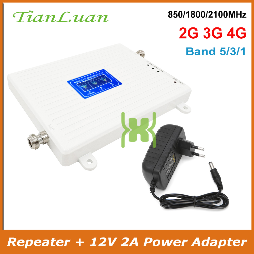 Band 5 CDMA 850 Band 3 DCS LTE 1800 Band 1 W-CDMA 2100 MHz 2G 3G 4G Cellular Signal Booster Repeater Mobile Signal Amplifier