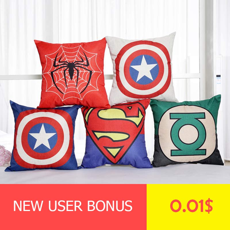 1pc 45*45cm Pillow Covers Marvel Superhero Series Superman Batman American Captain'S  Cotton Pillow Cover Cushion