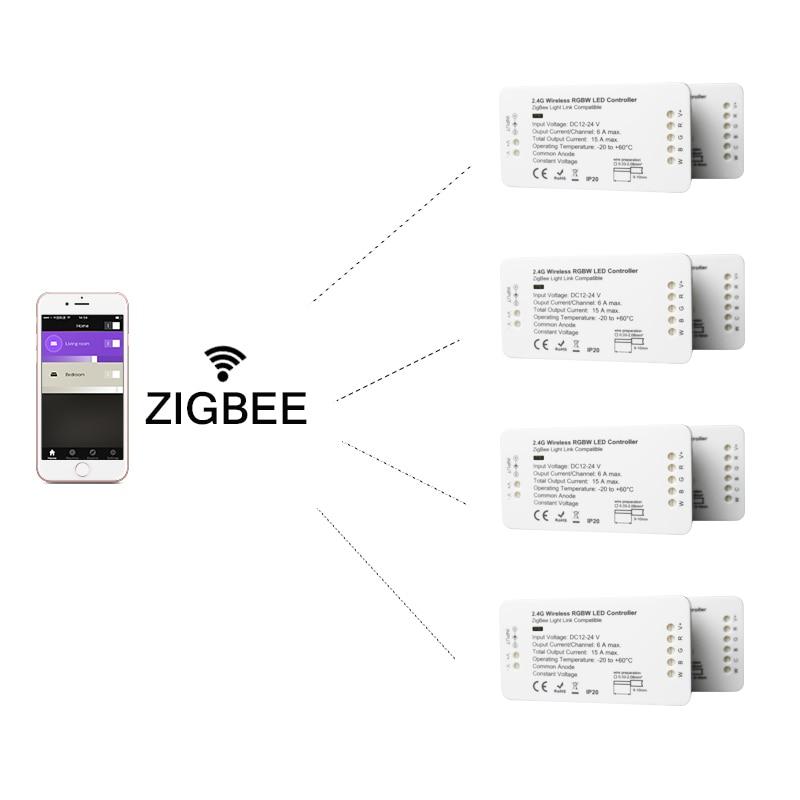 Беспроводной ZIGBEE RGBW Светодиодные ленты Смарт Управление; 12 V-24 V для Amazon Echo Plus/Osram 2ID Домашнее освещение с помощью светодиодов Дистанционное У...