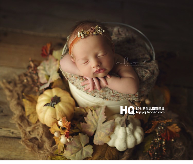 Newborn Photography Hat And Pumpkin Set Baby Photo Shooting Props Infant Unisex  Photo Studio Accessories