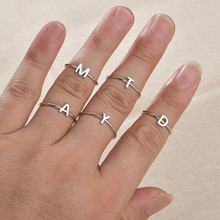 Personalized Stacking A-Z Initial Ring Bohemian Engraved Letter Rings for Women Gold Color Heart Rings Jewelry Drop Shipping(China)