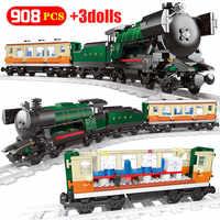 Stazione di Natale Sogno Treno Blocchi di Costruzione per Legoing Città Pista Del Treno di Trasporto Figure Giocattoli Dei Mattoni per I Bambini