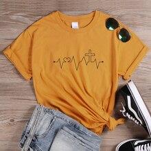 ONSEME Cross Heartbeat Graphic T Shirts Christian Jesus T Shirt Women Casual Cotton Tees Unisex Tumblr Bible Tee Tops Drop Ship