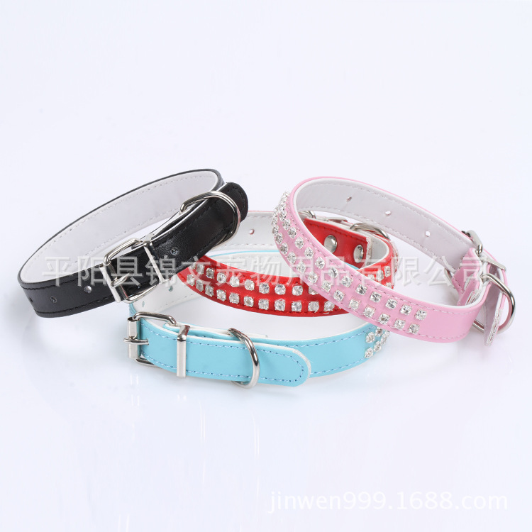 Small Dogs Pet Collar Double Row Man-made Diamond Pu Bite-proof Protector Pet Supplies