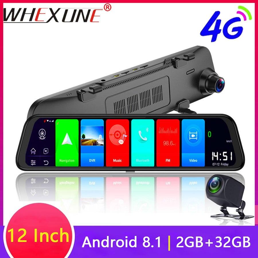WHEXUNE 12 Polegada Android 8.1 Câmera DVRs Carro GPS Navi do Bluetooth Gravador de FHD 1080P Espelho Retrovisor 4G Wi-fi ADAS Traço cam 2GB + 32GB
