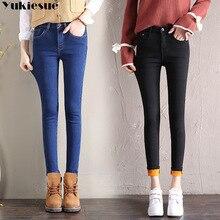 Slim Jeans Trousers Denim-Pants Stretch Gray Blue Black Plus-Size Cotton Women Fleece