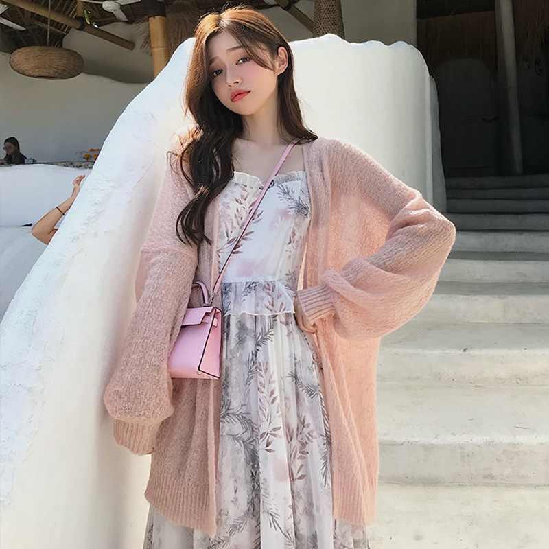 2019 ฤดูร้อนบางเสื้อ Kimono Cardigan ครีมกันแดดเสื้อผ้าสีทึบถักยาวครีมกันแดดเสื้อกันหนาว